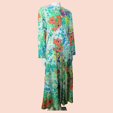 Profusion of Flowers on Long Leslie Fay Dress Orange, Turquoise, Green