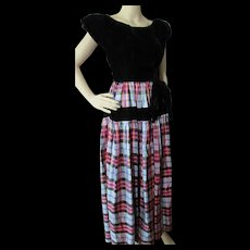 Fantastic 1940 Era Dance Dress in Black Velvet and Red Gray Plaid