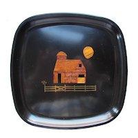 Couroc Barn & Moon Scene Hand Inlaid