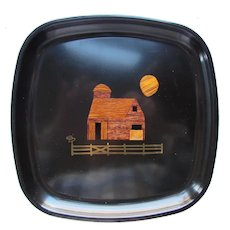Couroc Barn & Moon Scene Hand Inlaid