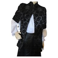 Fabulous Victorian Era Black Mourning Capelet in Burn Out Velvet and Bouillon Trim
