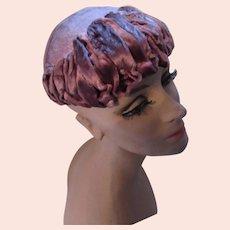 Mid Century Cocktail Half Hat in Lavender Copper Velvet Curved Bands Vogue Mont Chicago New York
