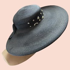Hat Mid Century Wide Brim Black Straw Derby Church Janyth Roy