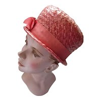 Mid Century High Top Hat Coral Weave 1960 Era