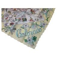 Colorado Souvenir Handkerchief Center Map Made in Japan Thrifco