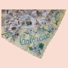 Colorado Souvenir Handkerchief Center Map Made in Japan Thrifco