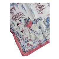 Child Hankie Handkerchief School Girl PInk & Blue