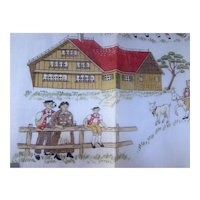 Handkerchief Andy Sutter Fisba Brand Made Switzerland Dairy Farmer Scene