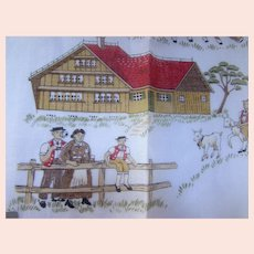 Handkerchief Andy Sutter Fisba Brand Made Switzerland Dairy Farmer Scene