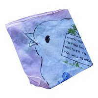 Sweet Child Handkerchief Puzzle Hankie Blue Bird Theme Find the Fold