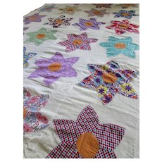 Star Quilt Top in Multiple Mid Century Prints