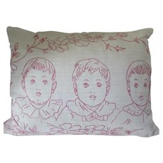 Linen Pillow Top in Red Work Embroidery of Child Triplets