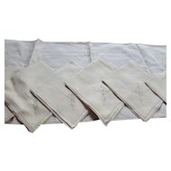Set Eight Linen Napkins Table Mats and Runner Embroidered and Cut-Out by Mastercraft Hand Made