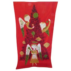 Tammis Keefe Holiday Christmas Towel in Bright Red with Three Angels Decorating Tree Suitable for Framing