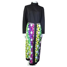 1970 Era Lounge Dress in Black Knit Top with Striking Purple Lime Green Fuchsia Lemon Yellow Geometric Skirt Kay Windsor size Mdm/Lrg