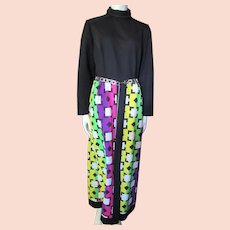 1970 Era Lounge Dress in Black Knit Top with Striking Purple Lime Green Fuchsia Lemon Yellow Geometric Skirt Kay Windsor size Mdm/Lrg
