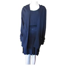 St John Classic Navy Knit Three Piece Set Pleated Skirt Shell Top Cardigan Style Sweater Made in USA