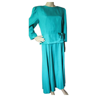 Stunning '80's Style Kelly Green Silk Top and Skirt for Special Occasions by Char:Made in Hong Kong