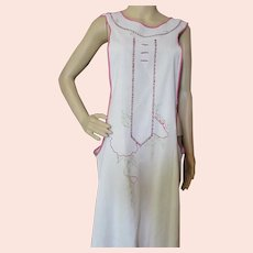 Early 20th Century Full Apron Embroidered Hand Made