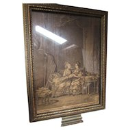 Unusual Romantic Style Hand Mirror Gold Frame Sepia 18th Century Ladies Back with Mirror on Reverse