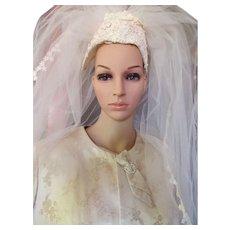 Vintage Wedding Veil with Daisy Applique Cap Daisy Trim 1970 Design Three Layer Net Veil