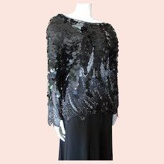 Oleg Cassini Black Beaded Top 1990's Formal Event Style