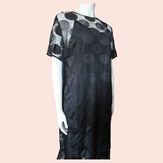 Louis Feraud Black Evening Dress Circle Embroidered Dress & Underslip