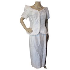 Watters and Watters White Silk Jacket and Skirt Sophisticated Look for Summer Events or Vintage Wedding Size 10