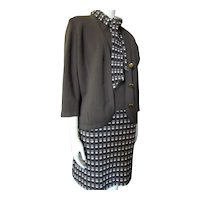 Classic Wool Knit 3 Piece Set in Brown Cream Grid Knits by Thayer Made in Italy