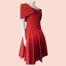 Cocktail Dress Bright Red Cattiva Maya Jornot Off Shoulder
