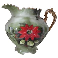 Lefton Poinsettia & Holly Pitcher Holiday Theme Hand Painted