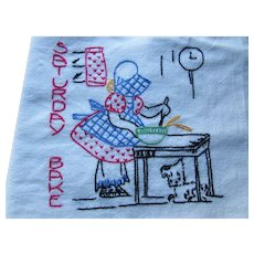 Four Embroidered Sunbonnet Days of the Week Kitchen Towels