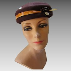 Mid Century Hat in Chocolate Brown Felt with Squash Color Long Feather and Decorative Appliques