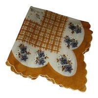 Mid Century Handkerchief Hankie in Mustard & Gray Flowers
