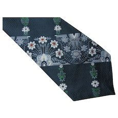 Unisex Clip On Tie 1970 Era Blue Floral Polyester One in Hand Clinton Iowa