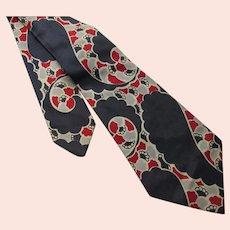Mid Century Unisex Neck Tie Navy, Red & Gray Abstract Design Duratwill Wilson Bros
