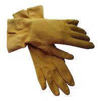 Mid Century Style Gloves in Mustard Tone Cotton