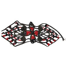 Double Strand Deco Style Passementerie Black Red Beading Trim