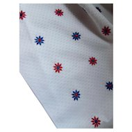 Fabric Red and Blue Embroidered Stars on White Waffle Texture One and Half Yards