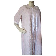 Mid Century Odette Barsa Trousseau Robe, Nightgown, Slippers Blush Lace, Ribbons for Lord & Taylor Size S Never Worn