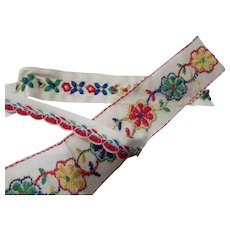 Trio Vintage Sewing Trims in Primary Colors for Doll Clothing and Craft Projects Free Shipping USA