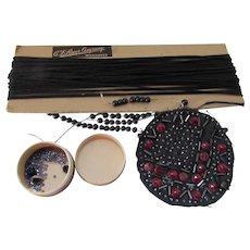 Grouping Black Trims Cording, Beading, Seed Beads A F Sauer Company Milwaukee WI
