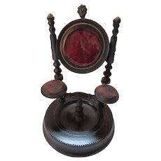 Victorian Era Wood Watch Holder with Red Velvet