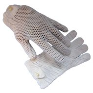 White Ladies Gloves Hand Crocheted in Italy Stretch Nylon Wrist Length Scallop Edge Free Shipping USA