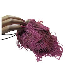 Pouch Beaded Purse Deco Era Flapper Style Fuchsia Beads