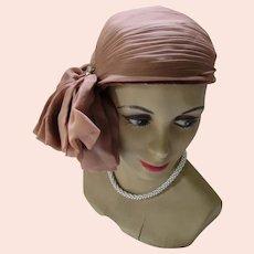 Sophisticated Mid Century Hat Head Hugger Luci Puci Cinnamon Chiffon Pleated Side Curl