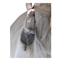 Doll Size Purse Vintage Mesh Pouch Style with Engraved Lid Early 20th Century