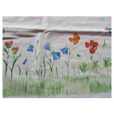 Luncheon Table Cloth Spring Summer Theme Flower Garden in Blue, Red, Yellow, Green Daisies Blue Bells Poppies