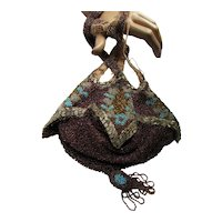 Fabulous Antique Beaded Pouch Bag in Aubergine, Silver Turquoise & Gold Beading