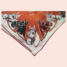 Vintage Handkerchief Horse Theme Burnt Orange Black White Horses